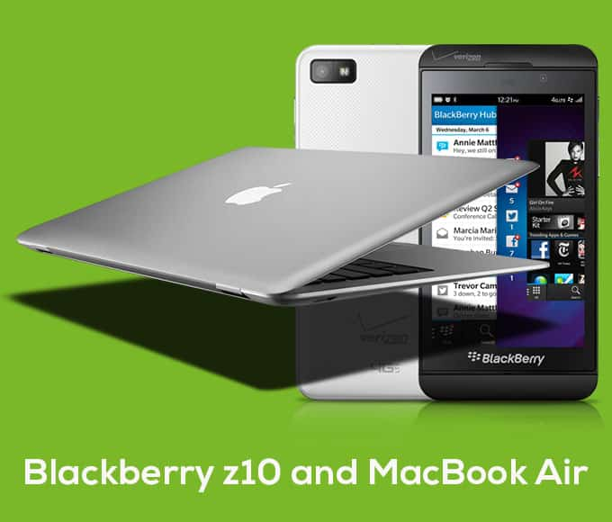 Blackberry z10 and MacBook Air