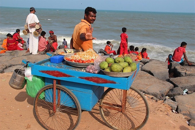 india indians seller beach sea fruits plants