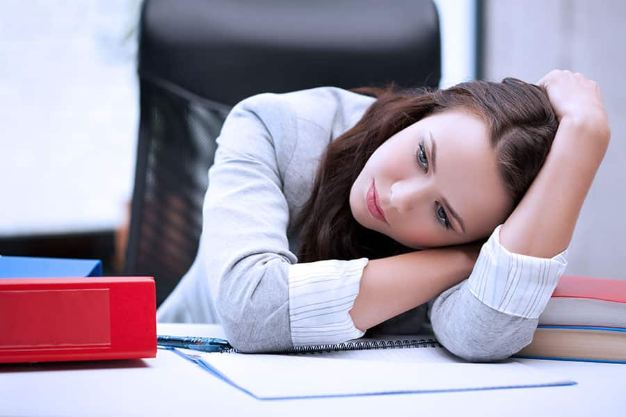 Unhappy business women thinking