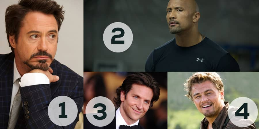 Robert Downey Jr., Dwayne Johnson, Bradley Cooper, and Leonardo DiCaprio