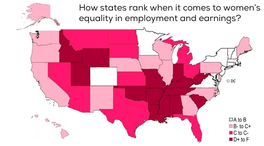How states rank when it comes to women's equality in employment and earnings.