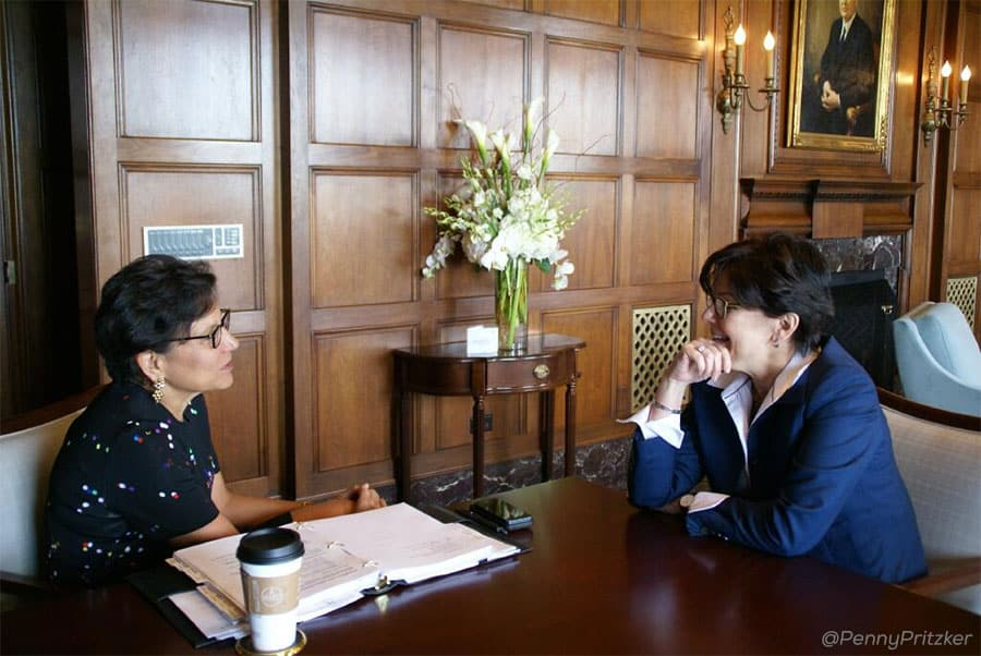 Phebe Novakovic with Penny Pritzker