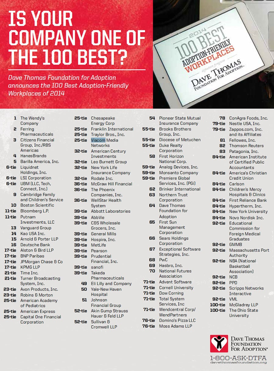 100 Best Adoption-Friendly Workplaces in the United States for 2014