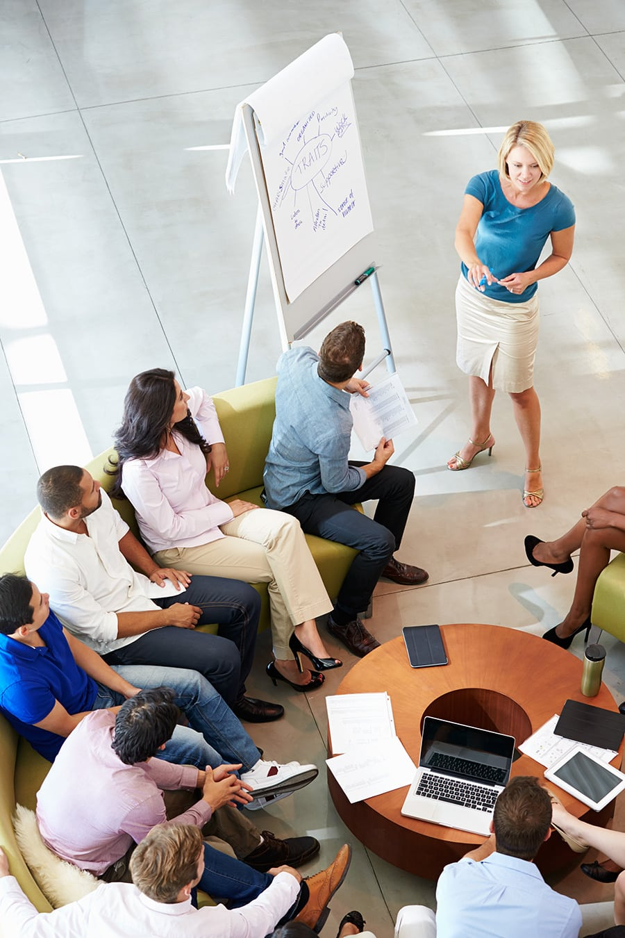 Female entrepreneur making business presentations to prospective investors