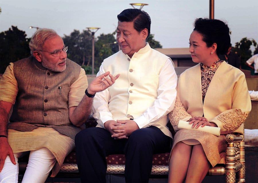 Peng Liyuan, Xi Jinping, and Narendra Modi