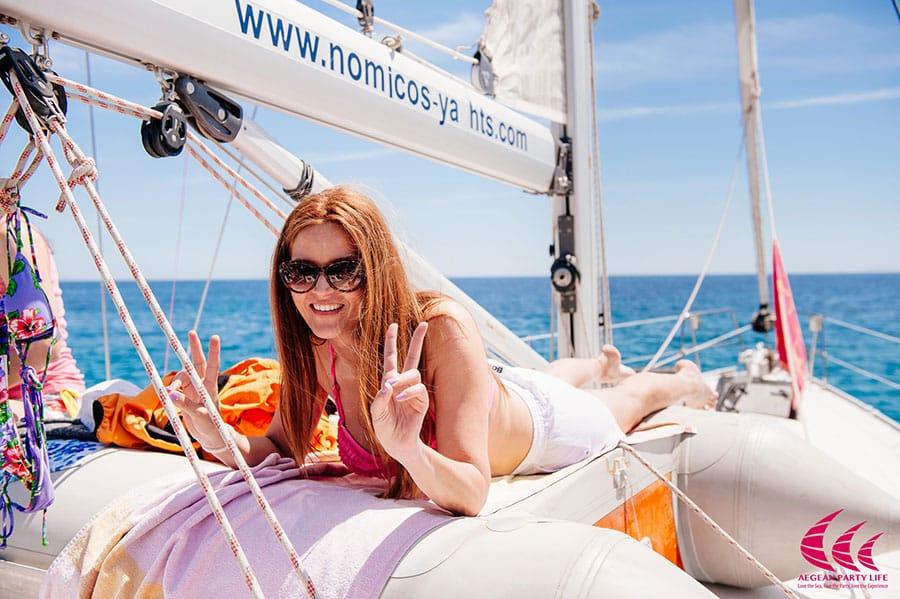 [Women sailing in greece