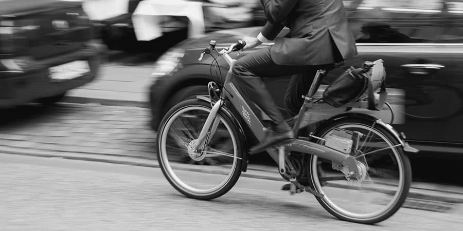 Business man on bike