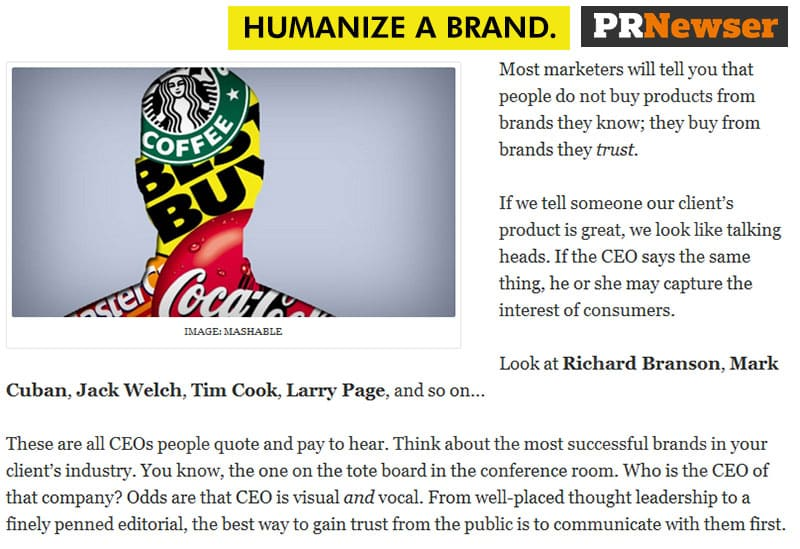 Humanize a brand