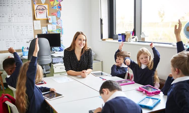 School teacher and children