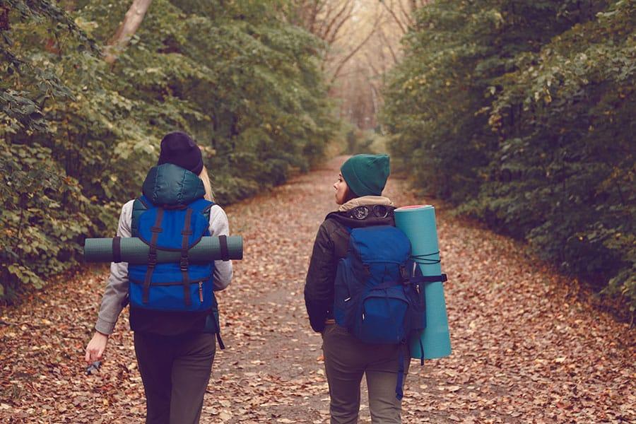 traveler with backpacks