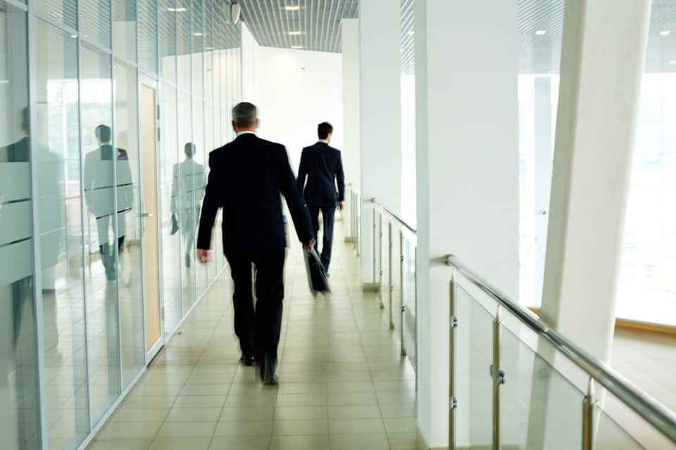 Blurred employees in company