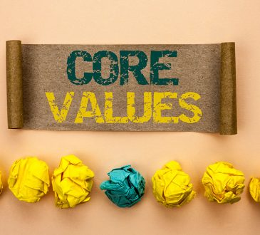 Writing note showing Core Values